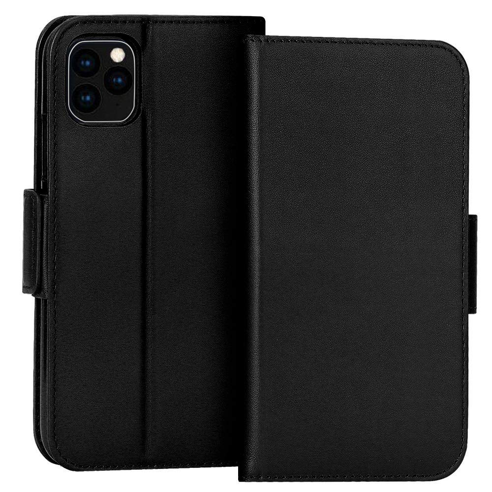 """FYY Case for iPhone 11 Pro 5.8"""", Luxury [Cowhide Genuine Leather][RFID Blocking] Wallet Case, Handmade Flip Folio Cover with [Kickstand Function] and[Card Slots] for iPhone 11 Pro 5.8""""Black"""