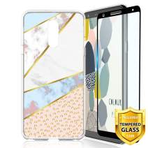 TJS LG Stylo 4 2018/LG Stylo 4 Plus/LG Q Stylus/LG Q Stylus Plus/LG Q Stylus Alpha Phone Case, [Full Coverage Tempered Glass Screen Protector] TPU Matte Color Marble Transparent Clear Soft Skin (Leop)