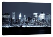 LightFairy Glow in The Dark Canvas Painting - Stretched and Framed Giclee Wall Art Print - City Urban Decor Night Over Manhattan - Master Bedroom Living Room Decor - 6 Hours Glow - 36 x 24 inch