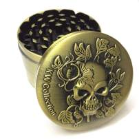 """KW Collection Zinc Alloy Spice Grinder Grater Brass 2.5""""/63mm 4 Piece with Free Pollen Catcher (2.5""""×1.75"""", 4 pieces, grinder only, Antique Brass, Skull Head Designed on top)"""