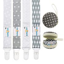 Babygoal Baby Plastic Pacifier Clips for Boys, 4 Pack with Pacifier Case for Teething Toy & Baby Shower Gift Fits All Pacifier Styles for Girls and Boys 4PS07-HZ