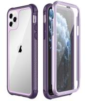 SPIDERCASE iPhone 11 Pro Max Case, Built-in Screen Protector Full Heavy Duty Protection Shockproof Anti-Scratched Rugged Case for iPhone 11 Pro Max 6.5 inch 2019 (Purple+Clear)