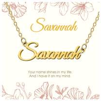 KissYan Custom Name Necklace Personalized, 18K Gold Plated Nameplate Necklace for Women Girls Gift for Mom