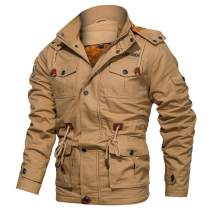 CARWORNIC Men's Winter Warm Military Jacket Thicken Windbreaker Cotton Cargo Parka Coat with Removable Hood