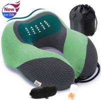 Travel Neck Pillow for Airplane Upgraded Ice Silk Nap Pillow Memory Foam Travel Rest Pillow Cozy Neck Support Pillow Travel Kit with 3D Sleep Mask & Earplugs, Portable Drawstring Bag (Green)