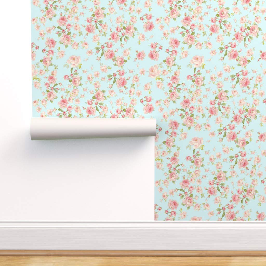 Spoonflower Pre-Pasted Removable Wallpaper, Aqua Blue Pink and White Pink Roses Shabby Chic Botanicals Edwardian Vintage Print, Water-Activated Wallpaper, 24in x 144in Roll