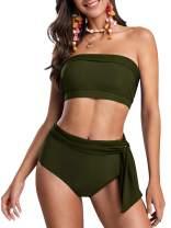 Ybenlow Womens Bandeau Two Piece Swimsuits Strapless Tie Knot Cheeky High Waisted Bikini Set Swimsuit