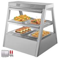 VEVOR 110V 27-Inch Commercial Food Warmer Display 2-Tier 800W Electric Countertop Food Warmer Display 86-185℉ Pastry Display Case with 4 Trays & 1 Bread Tong for Buffet Restaurant Hamburger Pizza
