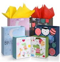 """OMEYA Paper Gift Bags,13"""" Large Gift Bags and 9"""" Small Gift Bags with 12PCS Tissue Paper, for Birthday, Baby Shower,Parties, Wedding, Shopping and More-(Pack of 6; 2X 9"""",4X13"""")"""