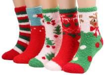3 Pairs Christmas Socks Womens Girls Cold Weather Warm Fuzzy Sleeping Sock A421