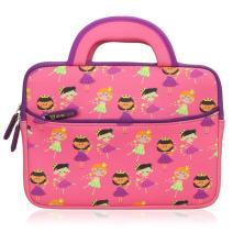 Evecase Cute Princess Themed Neoprene Travel Carrying Slim Bag w/ Dual Handle and Accessory Pocket - Pink w/ Purple Trim for Leapfrog Epic/ LeapPad Platinum/ LeapPad Ultra XDI 7-inch Kids Tablet