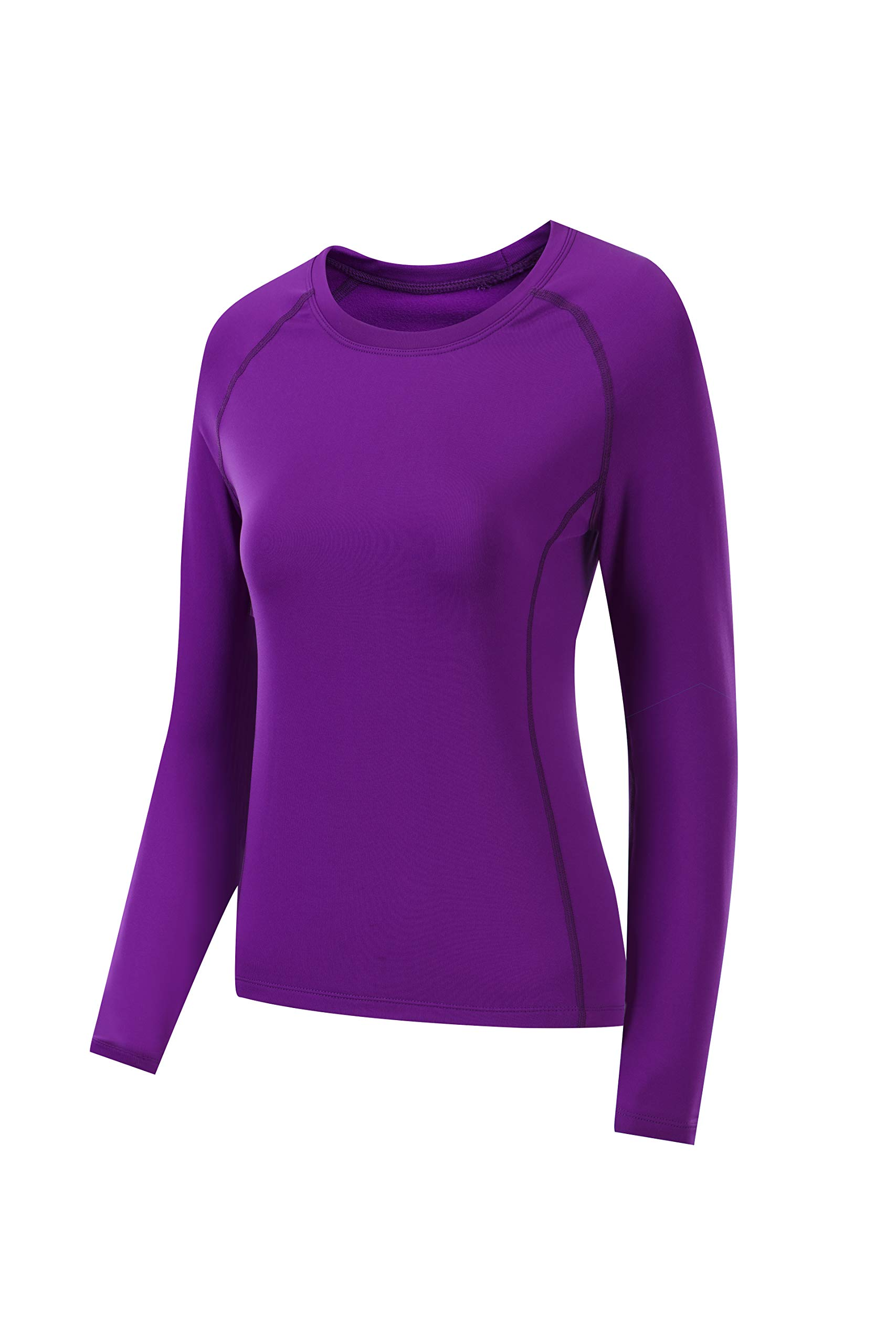 Nooz Women's Dry Fit Athletic Fleece Lined Thermal Compression Long Sleeve T Shirt