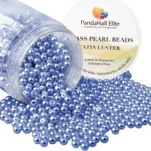 PandaHall Elite 4mm About 1000Pcs Tiny Satin Luster Glass Pearl Round Beads Assortment Lot for Jewelry Making Round Box Kit Purple Navy