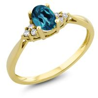 Gem Stone King 14K Yellow Gold London Blue Topaz and Diamond Women Engagement Ring (0.50 Ct Oval Available in size 5, 6, 7, 8, 9)