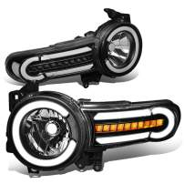DNA MOTORING Black Housing/Clear HL-LB-FJC07-BK-CL1 Pair LED DRL+Sequential Chasing Turn Signal Headlight Lamps Set