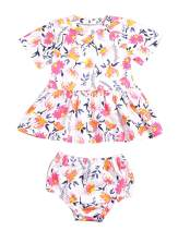 Newborn Baby Girls Clothes Short Sleeve Cute Floral Printed Dress+Short Pants Summer Outfits 2Pcs/Set Pink