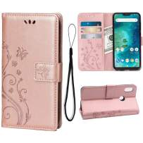 Wallet Case for Xiaomi Mi A2 Lite/Redmi 6 Pro, 3 Card Holder Embossed Butterfly Flower PU Leather Magnetic Flip Cover for Xiaomi Mi A2 Lite/Redmi 6 Pro(Rose Gold)