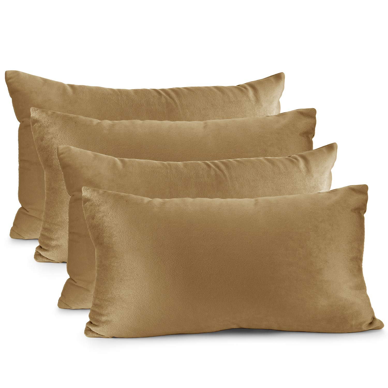 """Nestl Bedding Throw Pillow Cover 12"""" x 20"""" Soft Square Decorative Throw Pillow Covers Cozy Velvet Cushion Case for Sofa Couch Bedroom, Set of 4, Mocha Light Brown"""
