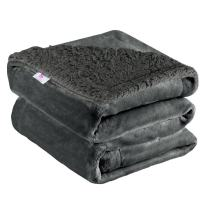 """uxcell Sherpa Fleece Blanket Reversible Plush Flannel Throw Blanket Fuzzy Soft Microfiber Blanket for Sofa Couch or Bed, Dark Gray Throw,50"""" x 60"""""""
