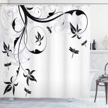 """Ambesonne Dragonfly Shower Curtain, Swirled Floral Background with Damask Curl Branches and Leaves Print, Cloth Fabric Bathroom Decor Set with Hooks, 70"""" Long, Light Grey"""
