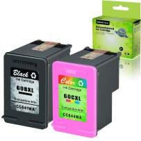 GREENCYCLE 2 Pack Remanufactured 60XL CC641WN CC644WN Black and Color Ink Cartridge Combo Set Compatible for 110 e-All-in-One D411a DESKJET D1660 D2545 PhotoSmart C4635 Printer (1 Black,1 Tri-Color)