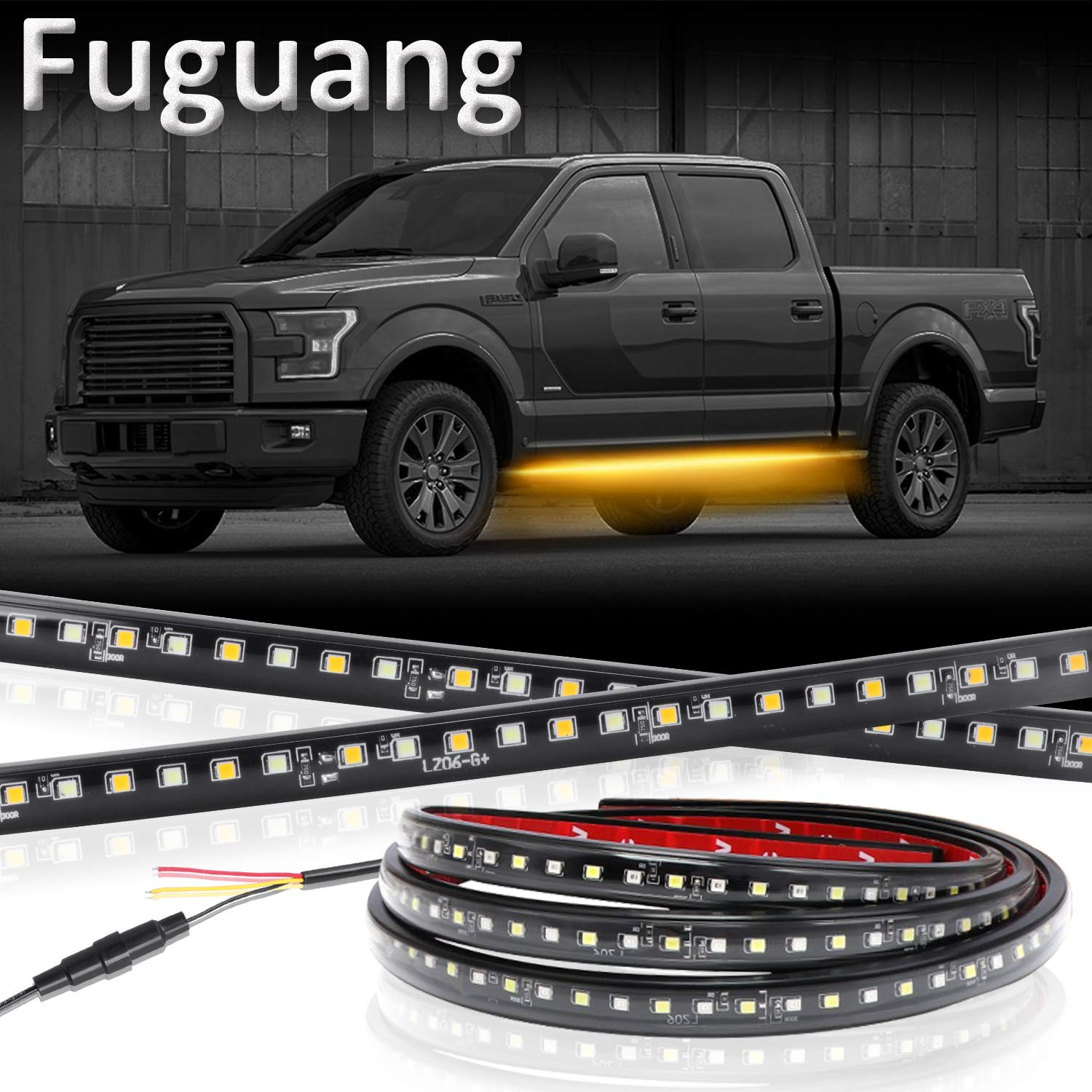 Fuguang 2PC 70inch Led Running Board Light Kits Side Marker Signal Strip Light White/Amber with Band Fuse Courtesy Lights for Extended & Crew Cab SUV Trucks (IP65)