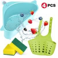 2 Pcs Kitchen Sink Strainers Basket, 2 Styles Kitchen Triangular Sink Filter Drain Shelf Sink Storage Holder with Suction Cup 2 Sponges for Kitchen Bathroom Support Corner Rack (Blue)