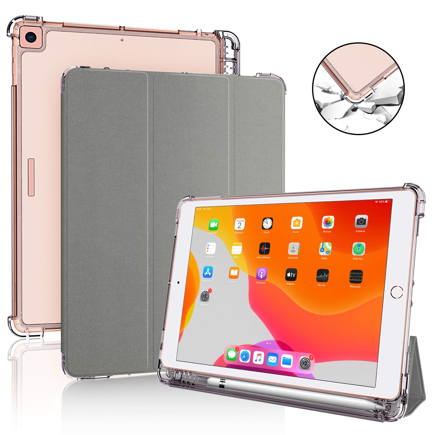 DDup iPad 7th Generation Case - New iPad 10.2 Case 2020 with Pencil Holder, Dual Shockproof Smart Leather Cover Soft Translucent Matte Back Slim Shell Auto Sleep/Wake (Grey case for iPad 10.2)