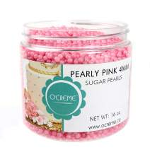 O'Creme Pink Edible Sugar Pearls Cake Decorating Supplies for Bakers: Cookie, Cupcake & Icing Toppings, Beads Sprinkles For Baking, Certified, Candy Sugar Ball Accents (4mm, 8 Oz)