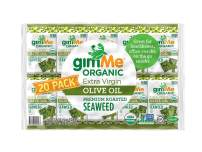 gimMe Organic Roasted Seaweed - Extra Virgin Olive Oil - 20 Count - Keto, Vegan, Gluten Free - Great Source of Iodine and Omega 3's - Healthy On-The-Go Snack for Kids & Adults