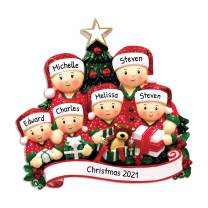 Personalized Opening Present Family of 6 Christmas Tree Ornament 2020 - Children in Pajamas unpack Tradition on Eve Morning Grandkids Cousins PJs Gift Year - Free Customization (Six)