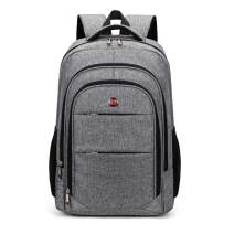 AUGUR Student Backpack, Travel Laptop Backpack Computer Bag for Women and Men boys Water Resistant College School Bookbag Slim Business Backpack Fits 15.6 inch Laptop and Notebook (Grey)