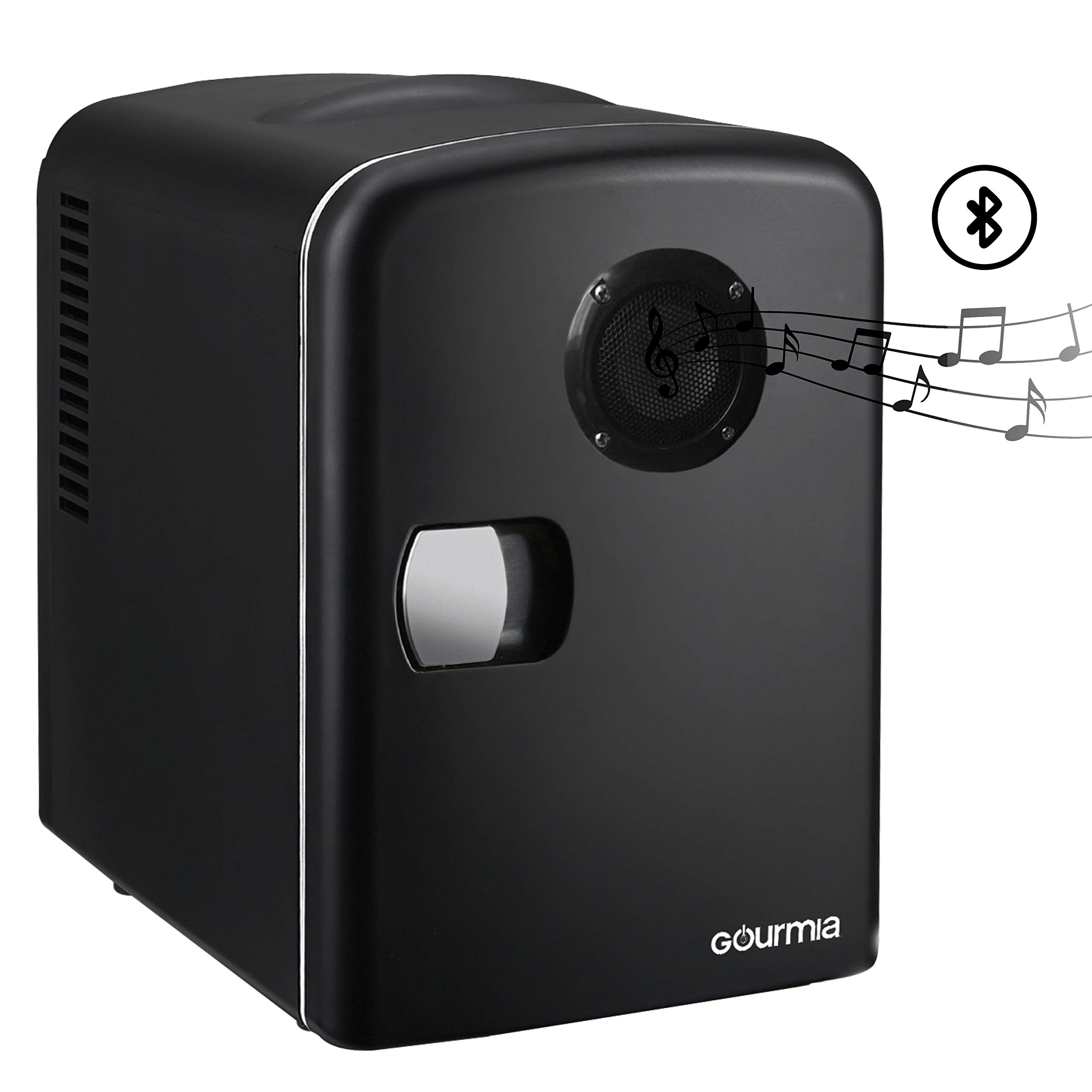 Gourmia GMF668 Thermoelectric Mini Fridge Cooler and Warmer - With Bluetooth Speaker - 4 Liter/6 Can - For Home, Office, Car, Dorm or Boat - Compact & Portable - AC & DC Power Cords - Black