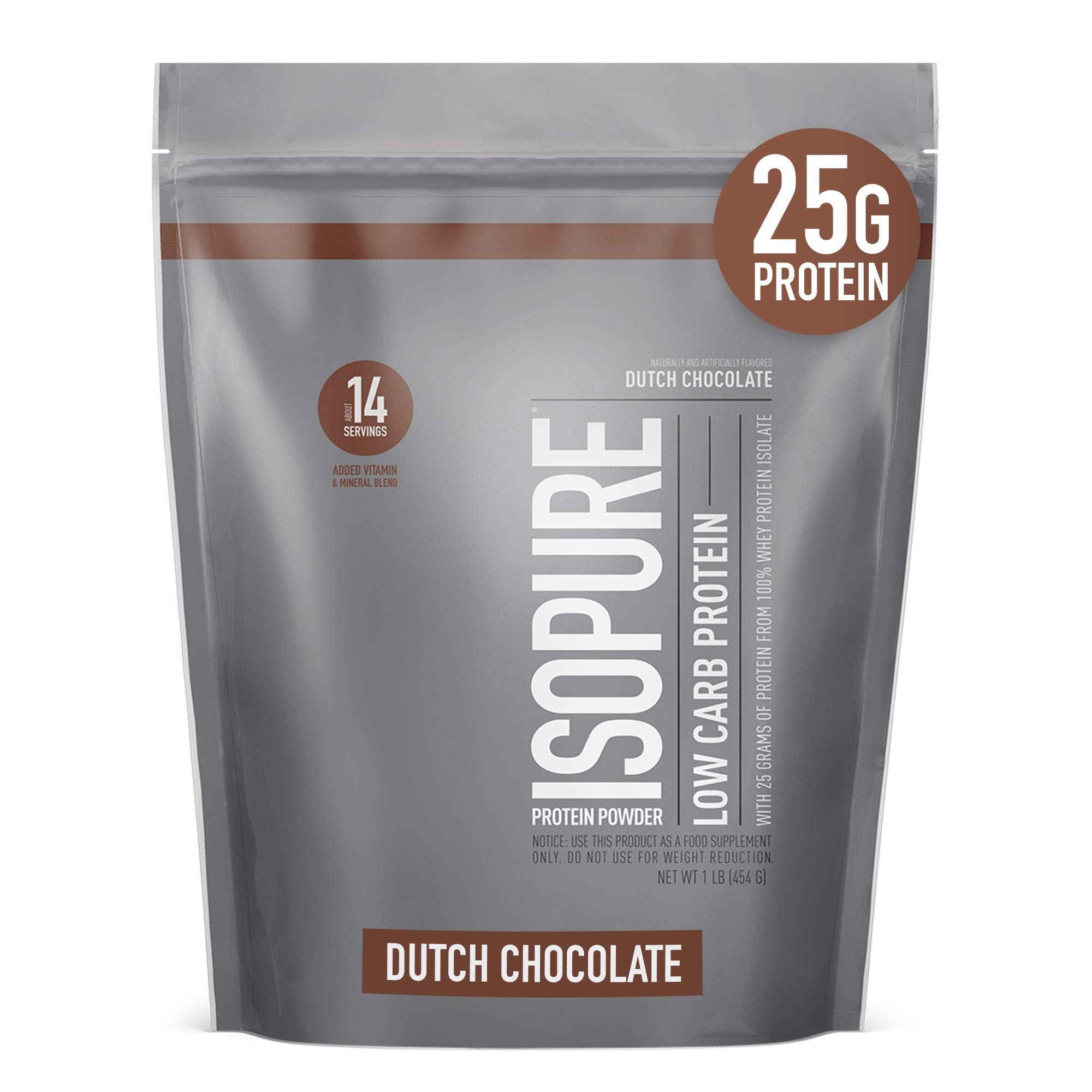 Isopure Low Carb, Vitamin C and Zinc for Immune Support, 25g Protein, Keto Friendly Protein Powder, 100% Whey Protein Isolate, Flavor: Dutch Chocolate, 1 Pound (Packaging May Vary)