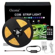 Ocona COB LED Strip Lights, UL-Listed 16.4ft 3000K/White 8mm Width Ultra Bright Flexible LED Tape Lights, with RF Remote, 12V/2A Power Supply for Home, Kitchen Decoration