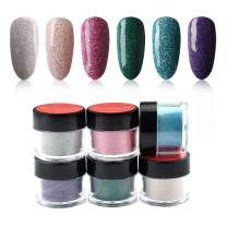 6 Box/Set Fine Dipping Powder Glitter Silver Pink Rose Pink Green Blue Purple Colors No Need Lamp Cure Dip Powder Nails,Like Gel Polish Effect, Even & Smooth Finishing (58-25-26-27-118-117-10g/box)
