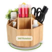 Maydear Bamboo Rotating Pencils Holder Art Supply Organizer Office Supplies Desktop Storage