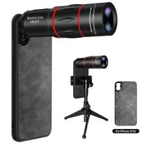 Cell Phone Lens, 18X Zoom Telephoto Lens with Tripod & Phone Case for iPhone X/Xs, HD Phone Camera Lens for iPhone X Xs, Monocular Telescope