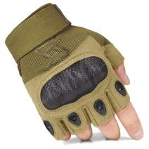 FREE SOLDIER Outdoor Half Finger Safety Heavy Duty Work Gardening Cycling Gloves (Sand Fingerless Large)