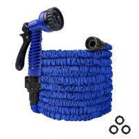 Flantor Garden Hose 50ft Water Hose, Expandable Garden Hose with 7-Pattern Spray Nozzle Collapsible Hose with Lightweight Triple Latex Core for Outdoor Gardening (50ft, Blue)