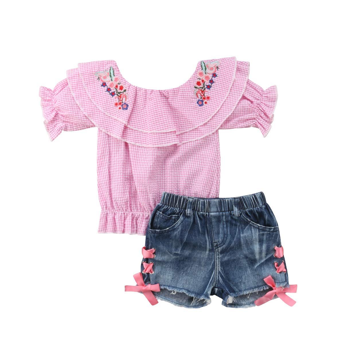 Toddler Girls Sunflower Rose Print Off Shoulder Tube Top Ruffle T Shirt Bell Bottom Wide Leg Flare Pants Jeans