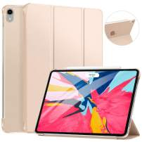 "Ztotop Case for iPad Pro 11"" 2018 - Slim Lightweight Trifold Stand Smart Shell with Auto Wake/Sleep + Rugged Translucent Back Cover Support iPad Pencil Charging for iPad Pro 11, Gold"