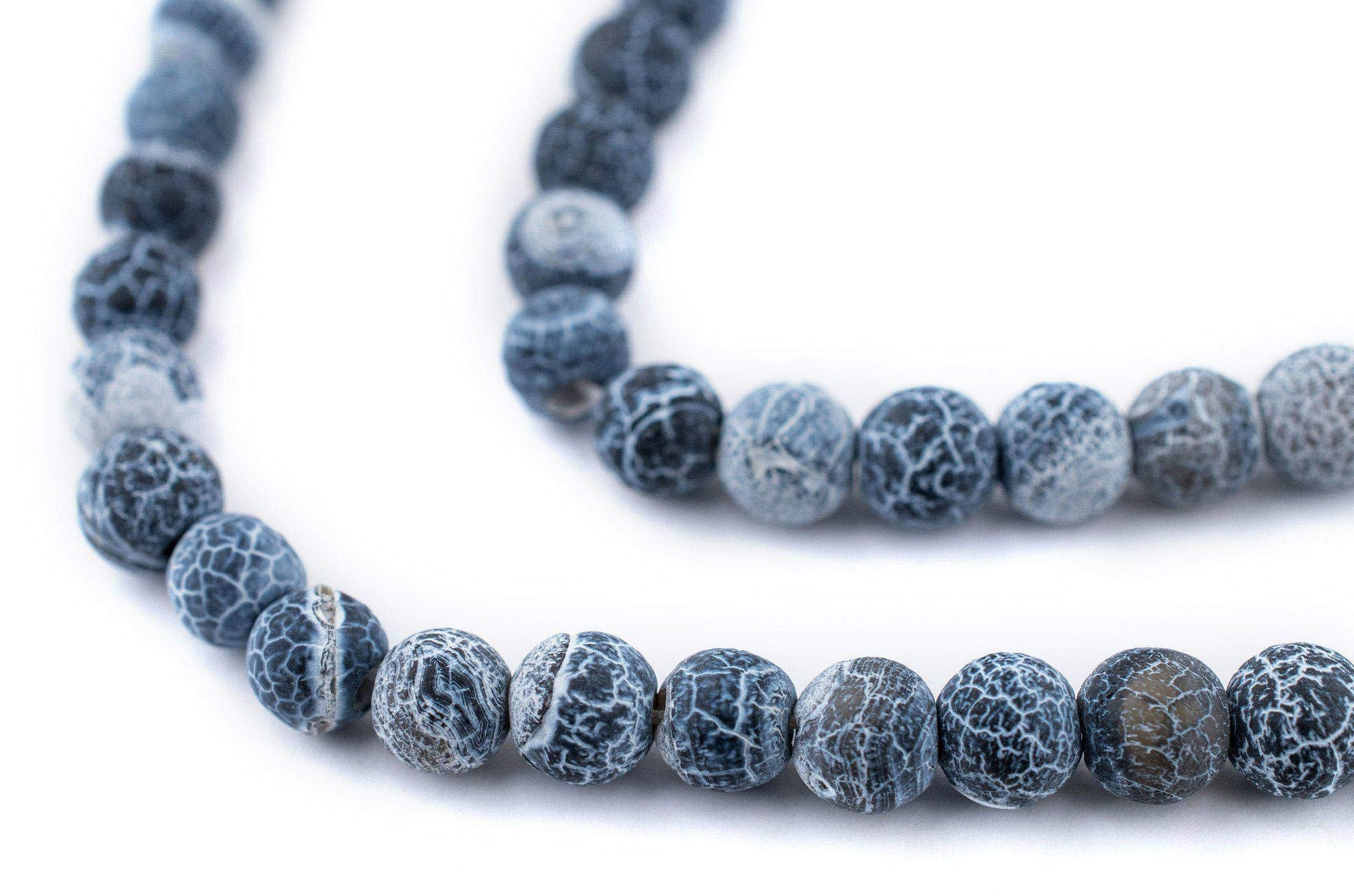 TheBeadChest Matte Round Black Crackled Agate Beads (6mm): Organic Gemstone Round Spherical Energy Stone Healing Power for Jewelry Bracelet Mala Necklace Making
