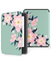 GVIEWIN Kindle Paperwhite Case, Water-Safe Flowers Pattern Leather PC Hard Shell Cover fits all Paperwhite Generations Prior to 2018 (Not fit All-New Paperwhite 10th Gen), Begonia/Pink