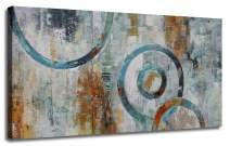 """Canvas Wall Art Prints Abstract Geometry Circle Blocks Grey Brown Painting Picture One Panel Large Size Modern Artwork Framed Ready to Hang for Home and Office Décor 40""""x20"""", Original Design"""