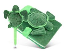 Puzzled Plush Sea Turtle Notebook and Pen