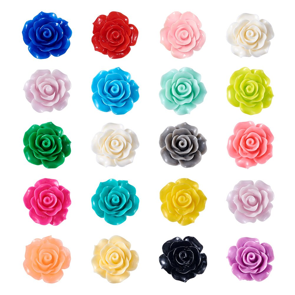 Craftdady 200Pcs Resin Rose Flower Flatback Bead Cabochons 18-20mm Random Mixed Colors Undrilled Floral Decor Charms for Phone Case Scrapbooking Jewelry Making