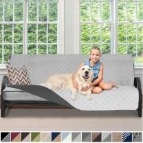 Sofa Shield Original Patent Pending Reversible Futon Protector for Seat Width up to 70 Inch, Furniture Slipcover, 2 Inch Strap, Daybed Couch Slip Cover Throw for Pets, Cats, Futon, Light Gray Charcoal
