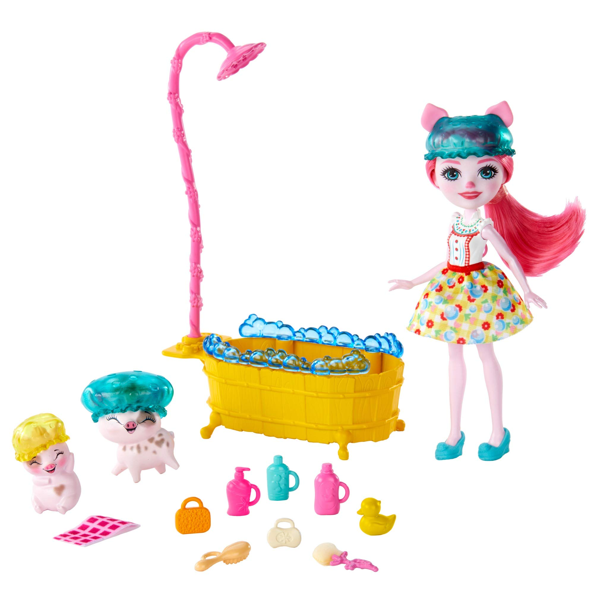 Enchantimals Bathtime Splash Water Playset with Petya Pig Doll (6-inch), 2 Pig Animal Friend Figures (1 with Color-Change Feature), and 11+ Accessories, Just Add Water, Multi