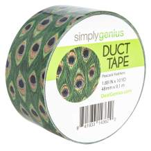 Simply Genius (Single Roll) Patterned Duct Tape Roll Craft Supplies for Kids Adults Colored Duct Tape Colors, Peacock Feathers